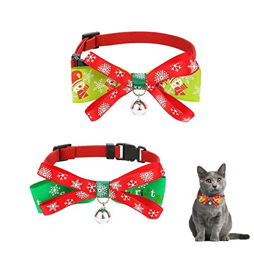 CHENGZI Collar de Navidad para perro o gato, collar ajustable para mascotas con pajarita de doble piso, para perros pequeños, 2 unidades