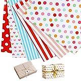 12 Hojas de Papel para Envolver Regalos 70 x 50cm Papeles Envoltura de Colores Puntos Rayas Corazón para Cumpleaños Navidad Boda