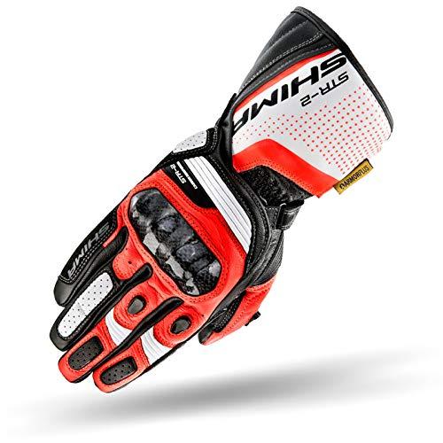 Str-2 Gloves Red Fluo, Guanti Lunghi in Pelle Touchscreen in Moto Per Uomo (Rosso Fluo, L)