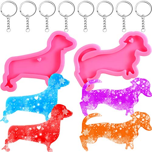 2 Pieces Dachshund Silicone Molds Set, 2 Styles Dachshund Shaped Keychain Molds with Hole and 8 Pieces Key Chain Dog Silicone Chocolate Candy Baking Mold, Pink