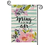 AVOIN Watercolor Stripes Flower Garden Flag Vertical Double Sized, Spring is in The Air Floral Holiday Party Yard Outdoor Decoration 12.5 x 18 Inch