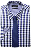 Nick Graham mens Modern Fitted Multi Gingham Stretch With Solid Tie Dress Shirt, Royal, 17 -17.5 Neck 36 -37 Sleeve US