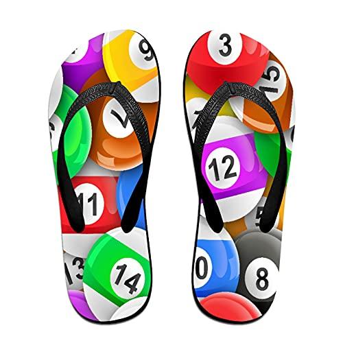 Sandales unisexes minces à bascule,Fond de sport de boules de billard, Tapis de yoga Flip Flops plage confortable bracelet en cuir avec légère en EVA Sole Taille L