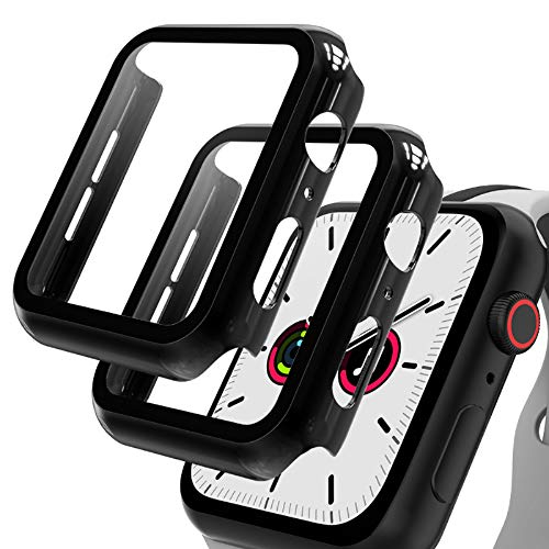 GeeRic 2PCS Pellicola Vetro Temperato Compatibile per Apple Watch 42mm Serie 3/2/1 HD Cover Resistente Urti Pellicola Copertura Completa Custodia Compatibile per Apple Watch 42mm Serie 3/2/1 Nero
