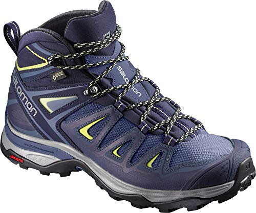 Salomon Women's X Ultra 3 Mid GTX Hiking Boots, Crown Blue/Evening Blue/Sunny Lime, 8