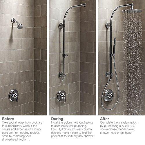 Kohler K-45903-Sn Hydrorail-H - Columna de ducha y baño, níquel ...