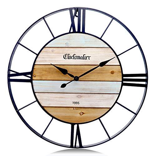 Lafocuse 61cm Reloj de Pared Mediterráneo Industrial Grande Reloj Cuarzo Silencioso Metal Marino con Números Romanos para Bar Salon Dormitorio