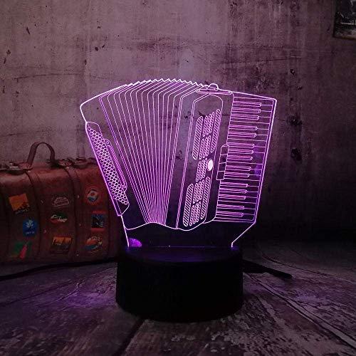 Luz de noche 3D Acordeón 3D Lámpara de mesa LED táctil USB 7 Cambio de color Novedad Escritorio 3D Dormitorio Linterna inalámbrica Cumpleaños infantil Regalo de Navidad