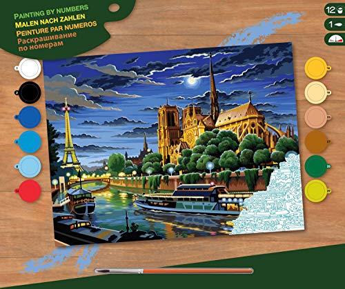 MAMMUT 8240424 - Malen nach Zahlen Senior, Paris, Komplettset mit bedruckter Malvorlage im A3 Format, 12 Acrylfarben, Pinsel und Anleitung, großes Malset ab 10 Jahre