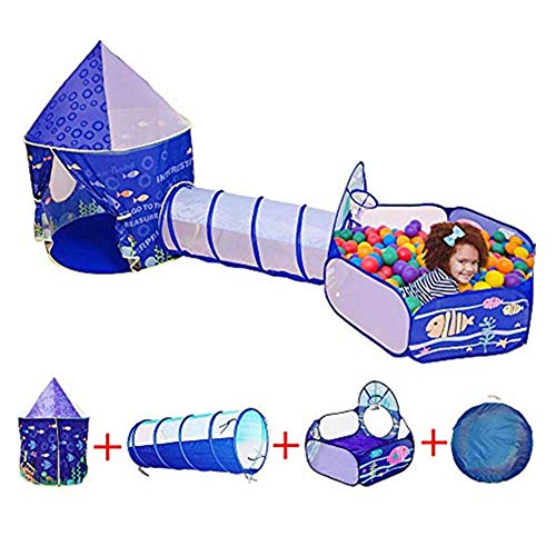 Kids Play Tent Tunnel Tent Toy Tents Pop Up 3 in 1 Game Tent Outdoor Indoor Playhouse Toy for Children Kids Boys Girls Game Education Portable Gifts Princess Castle Tent Not Include Ball (blue1)