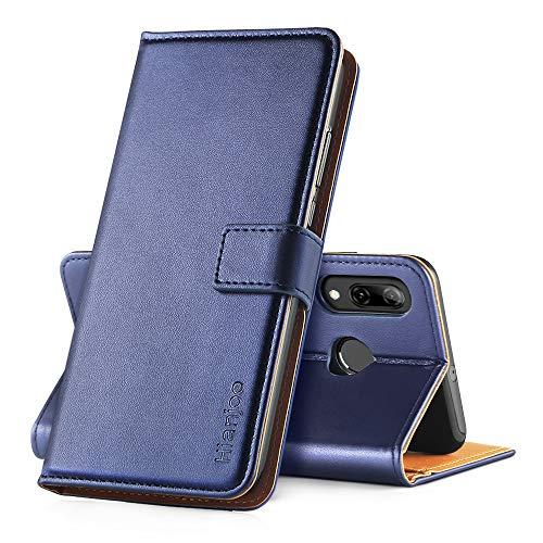 Hianjoo Hülle Kompatibel für Huawei P Smart 2019, Handyhülle Tasche Premium Leder Flip Wallet Hülle Kompatibel für Huawei Honor 10 Lite [Standfunktion/Kartenfächern/Magnetic Closure Snap],Blau
