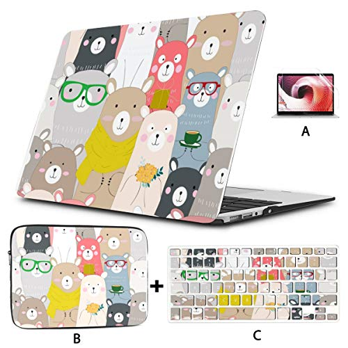 4 in 1 Laptop Case for MacBook Pro 15 Touch Bar (2016-2019) A1990/1707 Hard Shell Cover, SleeveCase, Keyboard Cover,Screen Protector, Winter Blue Pink Bearpastel