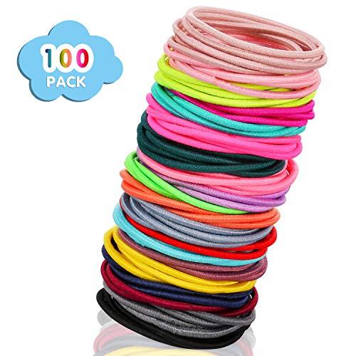 XCOZU Haargummis Mädchen, 100 Stücke Multicolor Haargummis Pferdeschwanz Inhaber Kein Metall Haarbänder Haar Wackelt Dünne Haarbänder Für Mädchen Frauen (3,5x0,2 cm)