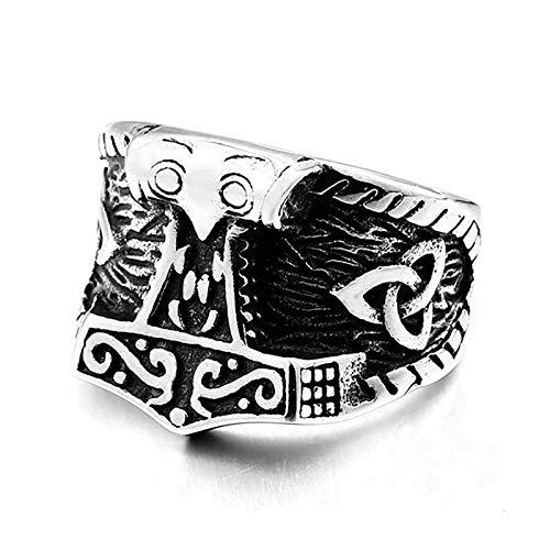 EzzySo Big Hammer Ring, Americana, protección del Cuerpo de Vikingo Retro y Popular en línea con joyería de Anillo de Oro (2 Piezas),9