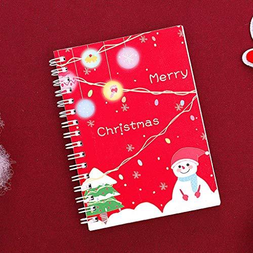 L9WEI - Cuaderno de notas con espiral, diseño navideño