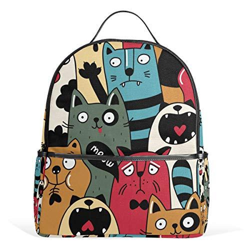 Cat Wacky Expressions Backpack School Bookbag Travel Bag