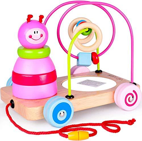 rolimate 4 in 1 houten educatief speelgoed beste verjaardag voor 2 3 4 5 jaar oude jongen meisje eerste kralen doolhof + trek- en duwspeelgoed auto's + spiegel ontwikkelingsspeelgoed voor baby's