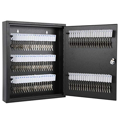 KYODOLED Key Storage Lock Box with Key,Locking Key Cabinet,Key Management Wall Mount with Key Lock,100 Key Hooks & Tags Key Labels,Black