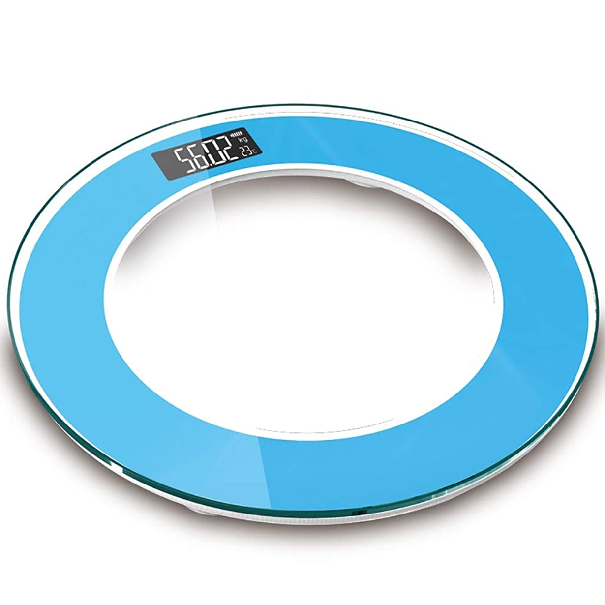 リーダーシップフルーツ野菜物理学者LEDディスプレイスケールラウンド強化ガラス電子スケール大人の家庭用体重計は150 Kg(33x33x2.6cm)に耐えることができます (Color : Blue)
