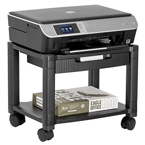 Halter lz-306a Mini Rolling Impresora carro máquina con soporte cable Management–Soporta hasta 75libras (Negro)