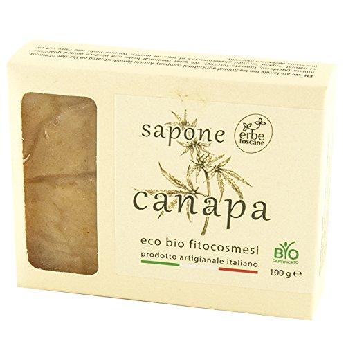 Savon bio Canapa 100 g - 100% végétal - à base d'huile extra vierge d'olive - pétrisé à froid avec séchage naturel - pur concentré de nature - fabriqué à la main en Toscane