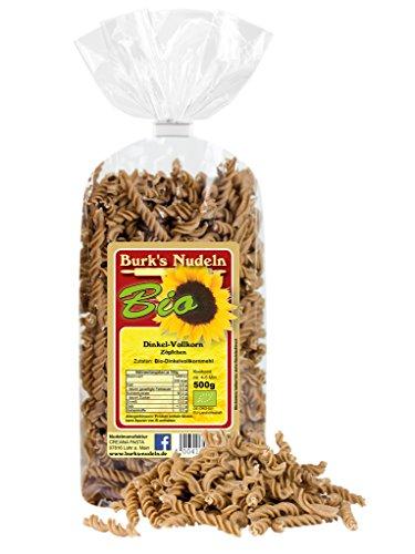 Burk's Bio Dinkel-Vollkorn Zöpfchen Nudeln- Spirelli/Fusilli Pasta ohne Ei (500 g)