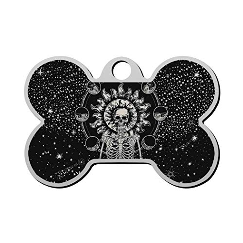 GPZHM Meditation Skeleton Pet Tag - Bone Shaped Dog Tag & Cat Tags Pet ID Tag Personalized Custom Your Pet's Name & Number 3D Printing