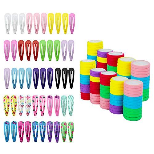 HBselect set da 50 Mollette per Capelli Bambina Antiscivolo con 66 Elastici per Capelli Accessori capelli Bambina
