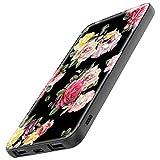 TheSmartGuard Batterie Externe 6000 mAh avec Port USB C Chargeur Compatible pour iPhone XS/XR/X Samsung S10/S9/S8 Note 9 Huawei P30 et Beaucoup Plus | Fleurs Roses Vintage Noir Rose