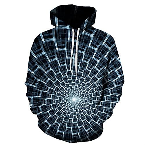 Sudadera con capucha para hombre con estampado HD realista y geometría abstracta de manga larga con bolsillo informal, K, S