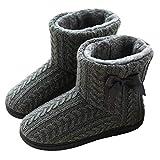 Rojeam Zapatillas de Estar por Casa para Unisexo Botas de Casa Invierno Pantuflas Peluche Cerradas, Tamaño-40/41 EU, Gris Oscuro (Tamaño del Fabricante 41/42)