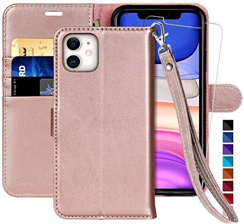 MONASAY - Funda tipo cartera para iPhone 11 (6,1 pulgadas, protector de pantalla de cristal incluido), bloqueo RFID, funda de piel con tarjetero para iPhone 11
