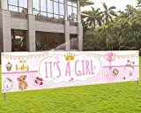 It's A Girl Banner Baby Shower Yard Sign Party Photo Booth Decorations Girl Baby Shower Decorations, Horizontal Pink Large Fabric Backdrop Background for Baby Girl Gender Reveal Party Decorations (Pink)