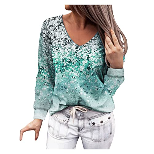 Women's Long Sleeve Tops Fall Spring Blouses Plus Size V Neck Floral Casual Tops Cute Print Shirts Comfy Sweatshirt