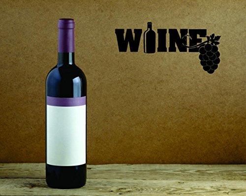 Design with Vinyl Moti 2618 1 - Adhesivo decorativo para pared, diseño de vino, color negro, tamaño 25,4 x 50,8 cm