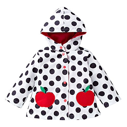 Dinglihuaqu Kinder-regenponcho winddicht Raincoat Mooie patroon kinderen Raincoat groen slijtvaste Raincoat wit-golf meisje Medium