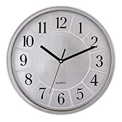 Decorative Silent Wall Clock Non Ticking Battery Operated Quartz Modern Wall Clocks 12 Inches Round for Living Room School Office Lobby