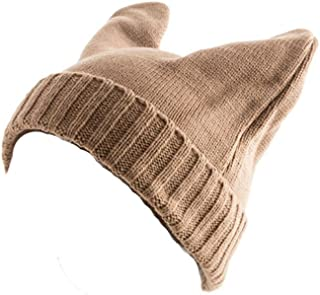 Plum Feathers Devil Horn Rabbit Ear Knit Beanie Winter Hat