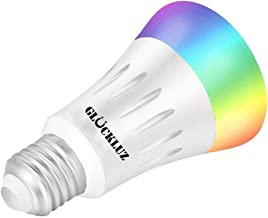 Gluckluz Smart Wifi LED Light Bulb 16 Million Colors Color Changing E27 60W Equivalent RGBW No Hub Required (7W 1PACK) - Cone