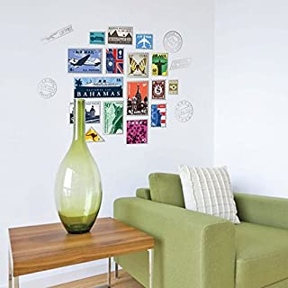 Creative postal stamp wall sticker sofa dining room wall mural picture travel decal