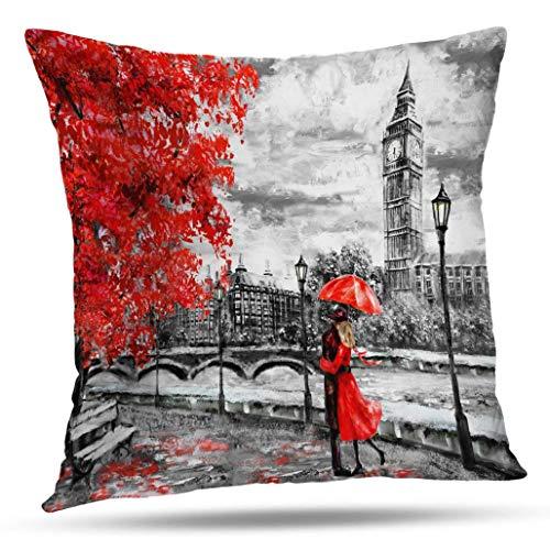 Soopat - Funda de cojín decorativa, 45,72 x 45,72 cm, pintura al óleo, lienzo de la calle de Londres, arte Big Ben, hombre y mujer, bajo un paraguas rojo, árbol de Inglaterra, puente decorativo, decoración del hogar