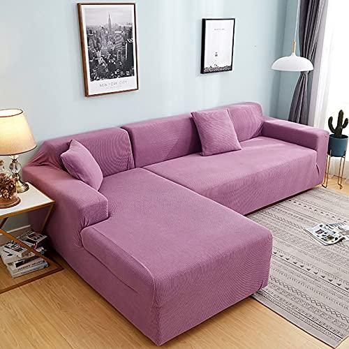 Plush soffa täcker för vardagsrum sammet elastisk hörn sektion soffa kärlek säte täcker fåtölj l-formade möbler slipcover för vardagsrum husdjur,Purple,4seaters235~300cm