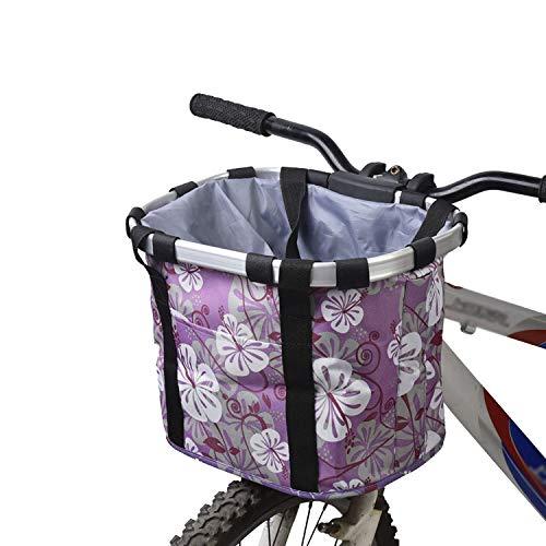 Ketamyy FahrradKorb Vorne Faltbar Fahrrad Korb Abnehmbare Lenkerkorb Tasche Mountainbike Korb Fahrradkorb Hund Picknick Shopping Camping Schnellverschluss Einfache Installation Violett