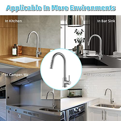 APPASO Kitchen Faucet with Pull Down Sprayer Brushed Nickel, Single-Handle High Arc Swan-Neck Modern Kitchen Sink Faucet with Optional Deck Plate Stainless Steel, Silver