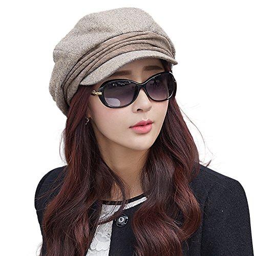 Comhats Baumwolle warme Zeitungsjunge Mütze Barett Mütze Für Damen Cabbie mit Visor Schirmmütze Baskenmütze Beige