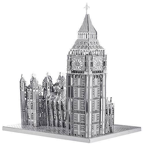 piececool 3D Lasergeschnittenes DIY Weltbekannt Architekturmodell Metallmodell-Puzzles für Erwachsene- Big BEN-49pcs (Silber)