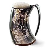 Taza de cuerno para beber vikingo auténtico de Norse Tradesman - Jarra de cuerno de cerveza 100% auténtica con grabado de martillo de Thor |'The Mjolnir', pulido, aprox. 900 ml