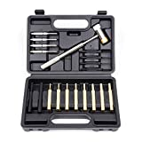 HORUSDY 19-Pieces Gunsmith Punch Set and Hammer with Brass, Hollow, Steel, Plastic Punches, Brass Punch for Gunsmithing Maintenance.
