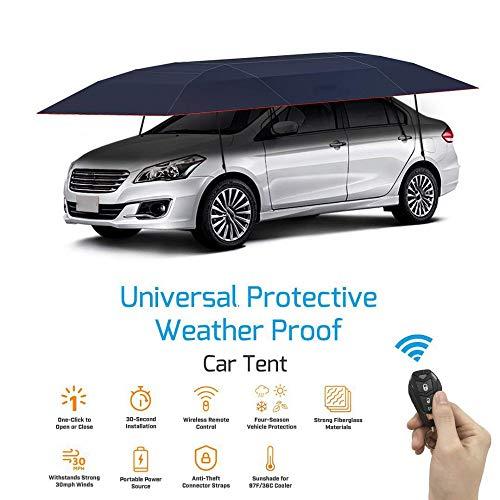 Xljh Tente de Couverture de Voiture entièrement Automatique Portable Voiture télécommandée Pare-Soleil Parapluie Couverture de Toit extérieur Kits de Protection UV,Blue
