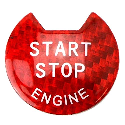 SHENYUAN-Accessories & Parts Brillo Rojo Real de Fibra de Carbono sin Llave Motor de Arranque/Parada del botón pulsador de Arranque de la Cubierta Compatible for Nissan y de Infiniti